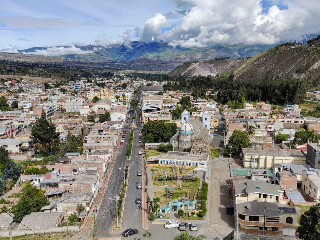 Sklyline of Guano with town streets, buildings, and mountains