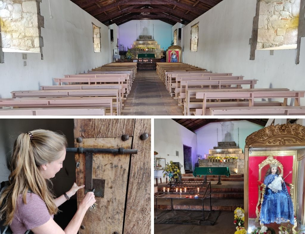 Balbanera church collage: pews, unlocking door with key, Virgin Mary relic