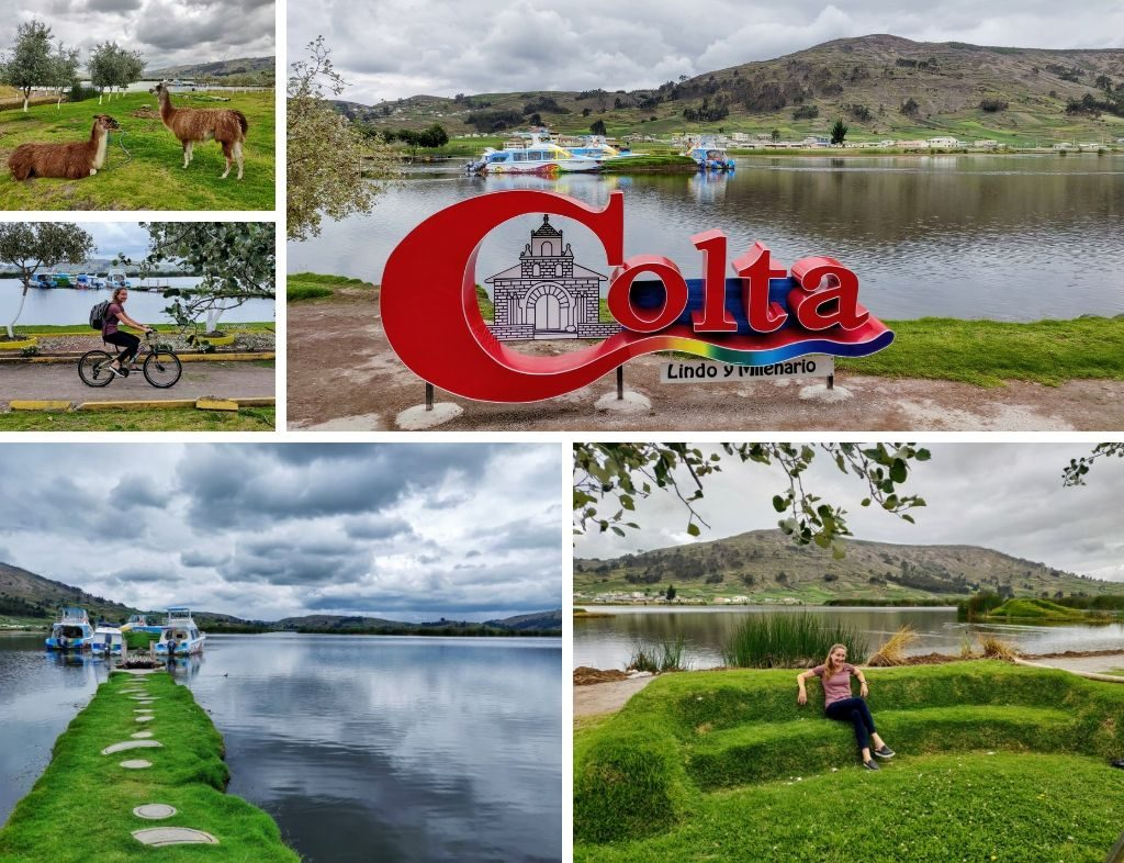 Laguna de Colta collage: llamas, riding a bike, Colta sign, grassy pier extending to boats, and Heather sitting on natural grass chair