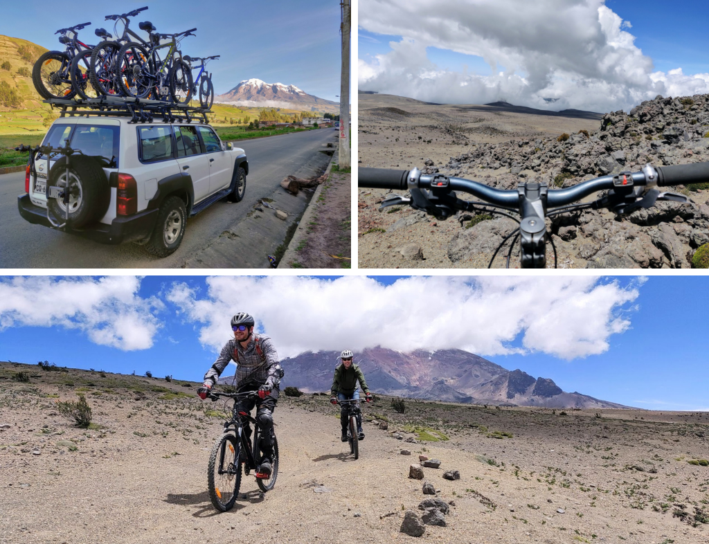 Collage showing mountain biking down Chimborazo: bikes being transported atop SUV, handlebars, and two mountain bikers riding down