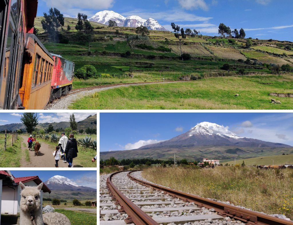 Collage of the Tren de Hielo I: scenes of the Ice Train with Chimborazo in the background