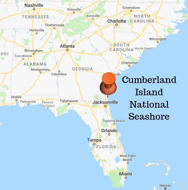 Map of Southern US showing with location of Cumberland Island in Georgia