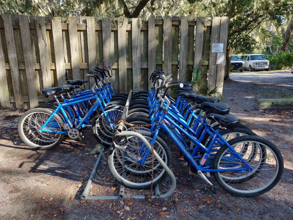 rental bikes in bike rack in Cumberland Island