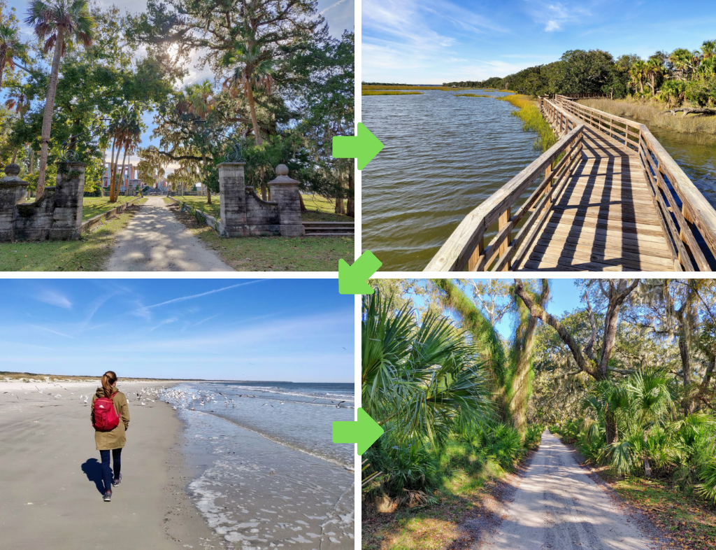 Collage of Southend Loop Trail: Historic District, Boardwalk across marsh, Heather walking on beach, trail through oak tree canopy