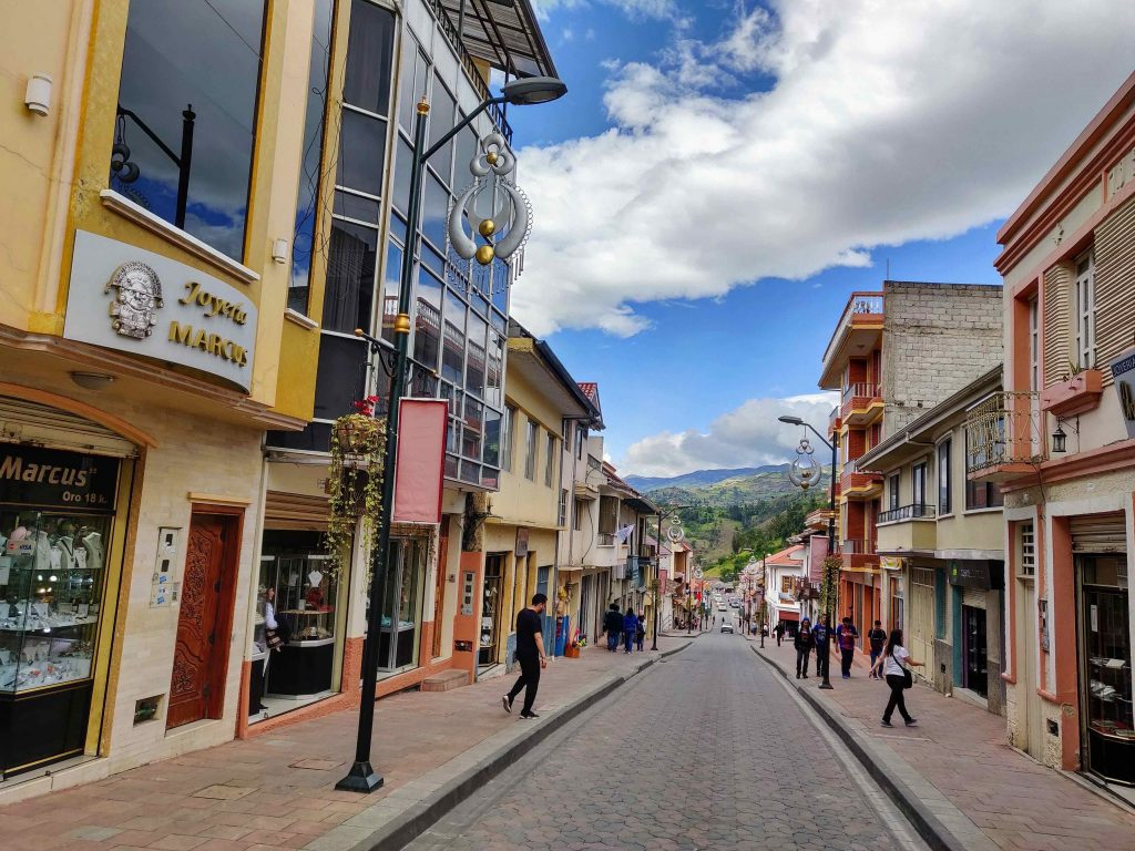 Street in Chordeleg Ecuador with shops