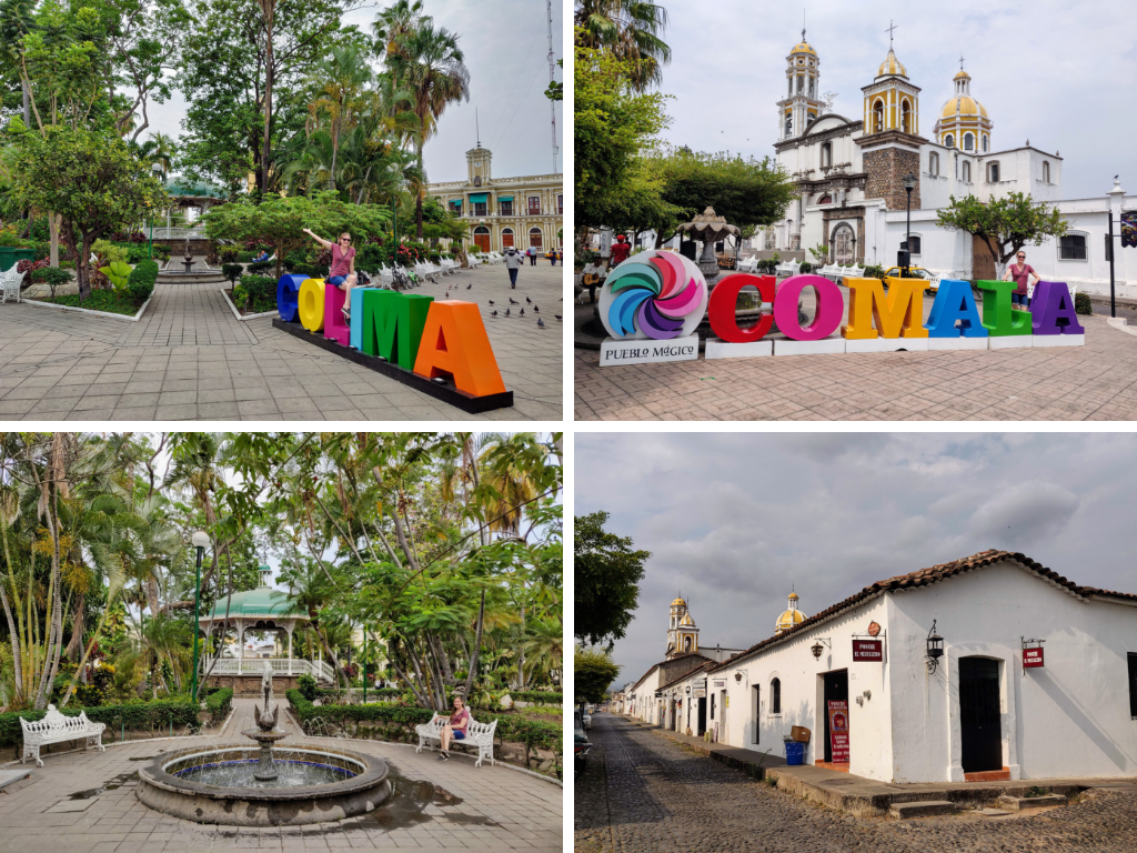 Collage of town signs of Colima and Comala, plus garden and town streets