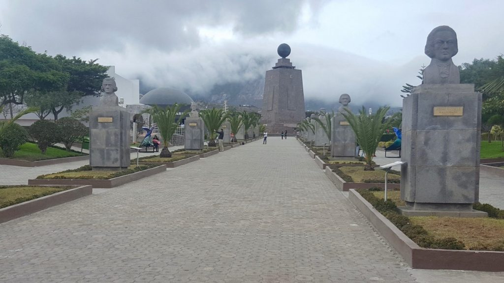 A pathway leads to the Mitad del Mundo equator monument