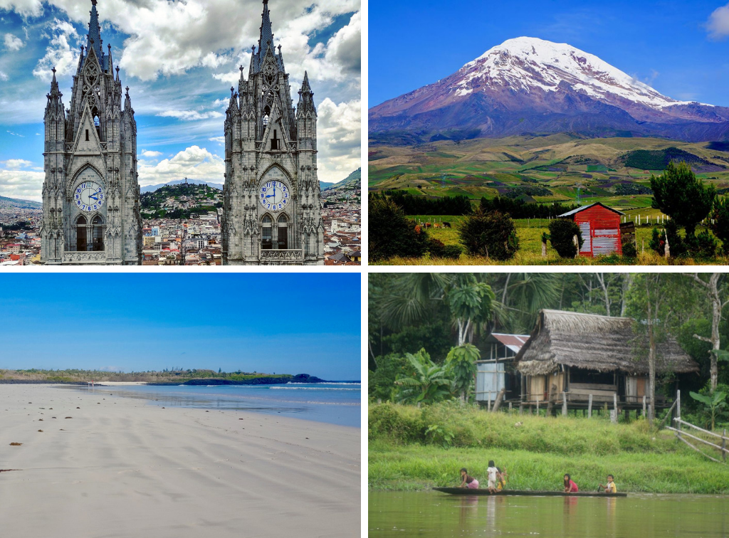4 different areas of Ecuador: view of church & cityscape, Andes mountains, beach, and Amazon rainforest