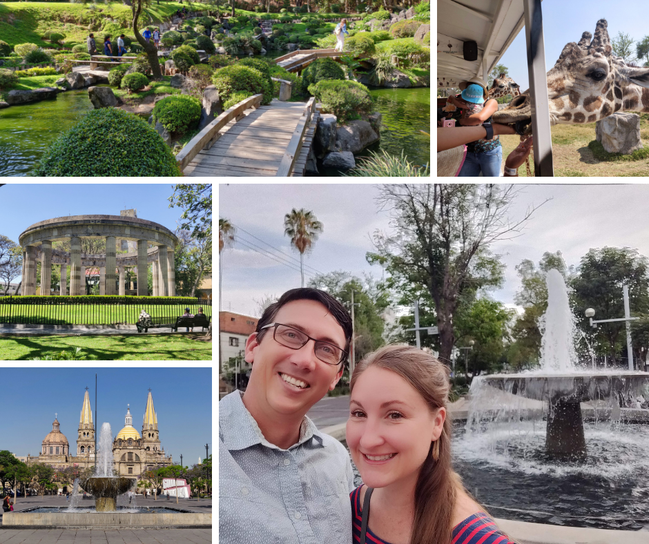 Collage of Guadalajara garden, zoo, monument, church, and fountain