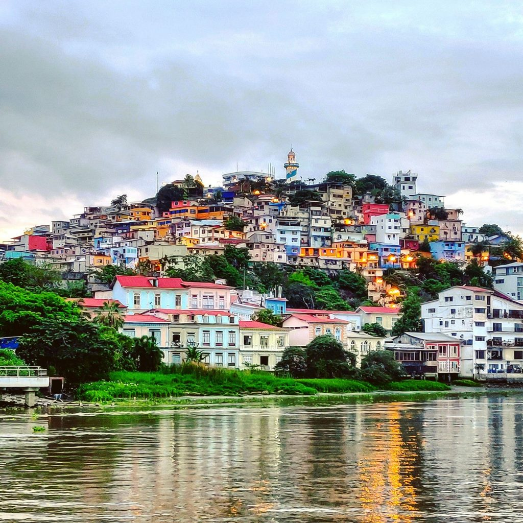 Colorful dwellings on riverside hill in Guayaquil Ecuador