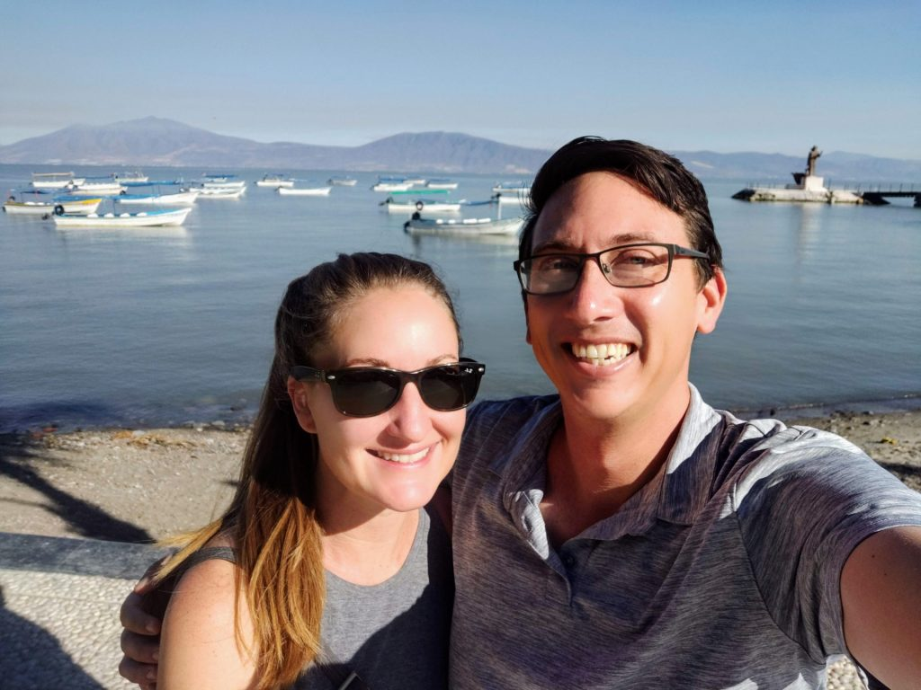 Heather and John selfie in Lake Chapala