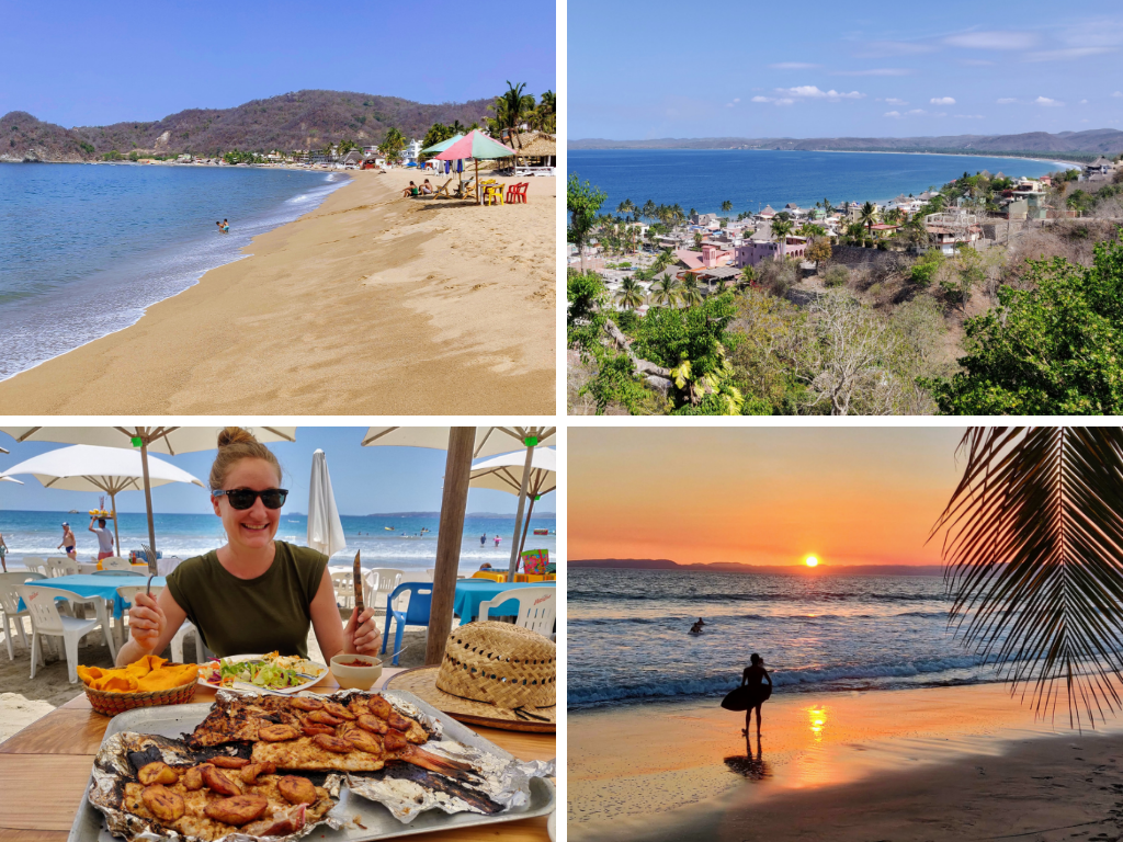 La Manzanilla Mexico collage of beach, heather eating seafood, coastline, and sunset