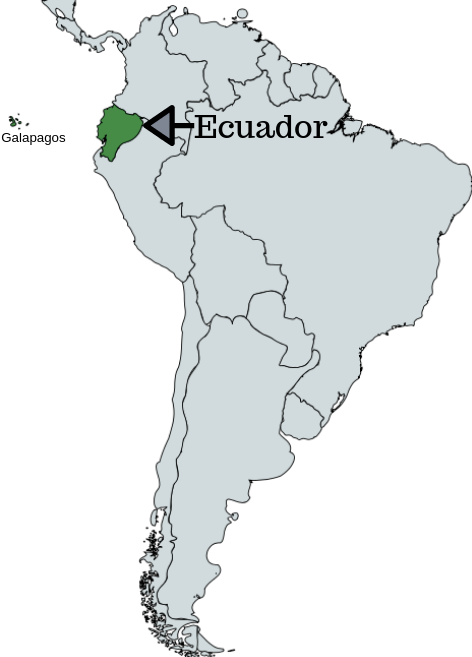 Map of South America with location of Ecuador pointed out