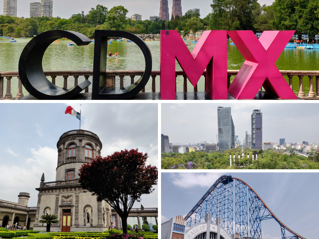 Collage of Mexico City highlights: CDMX sign, Chapultepec Park, and Six Flags roller coaster