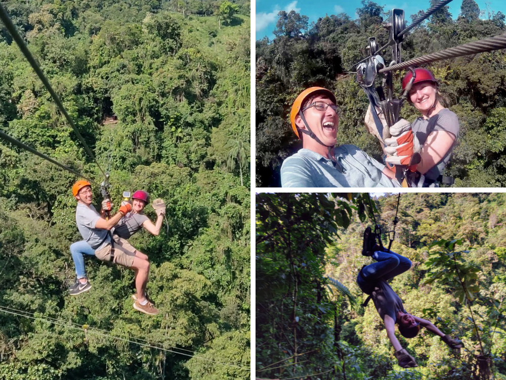 Collage of Heather & John Ziplining in the Mindo Cloud Forest, a ziplining selfie, and Heather hanging upside down