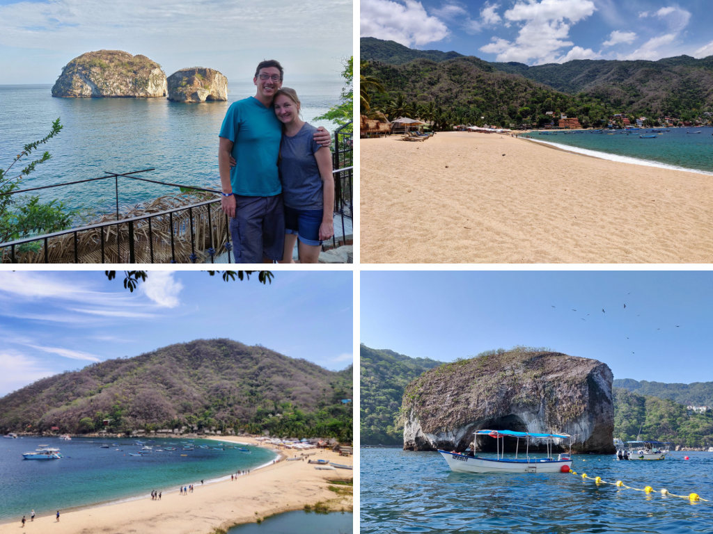 Puerto Vallarta collage of Los Arcos, beaches, and boat at snorkeling spot
