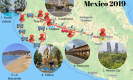 map of travel route through Mexico 2019