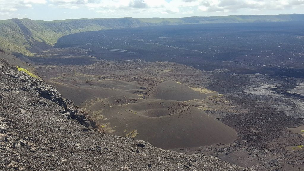 Wide crater of Sierra Negra in Galapagos