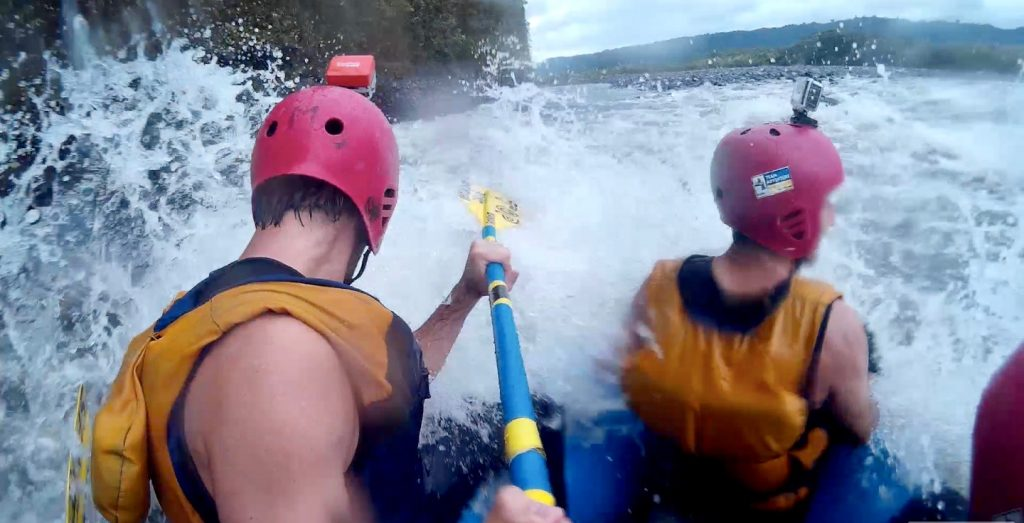 Whitewater rafting down rapids of the Pastaza River in Ecuador
