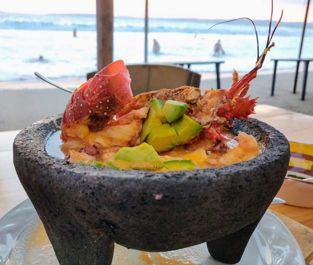 seafood dish on the beach