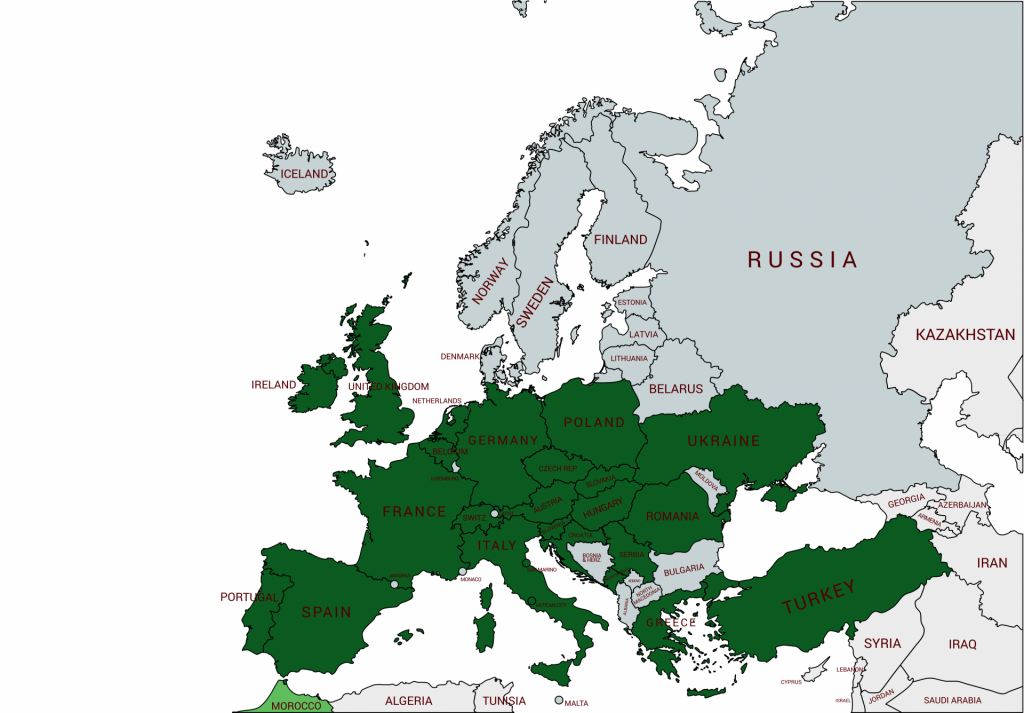 Map of European countries we've visited as of 2019
