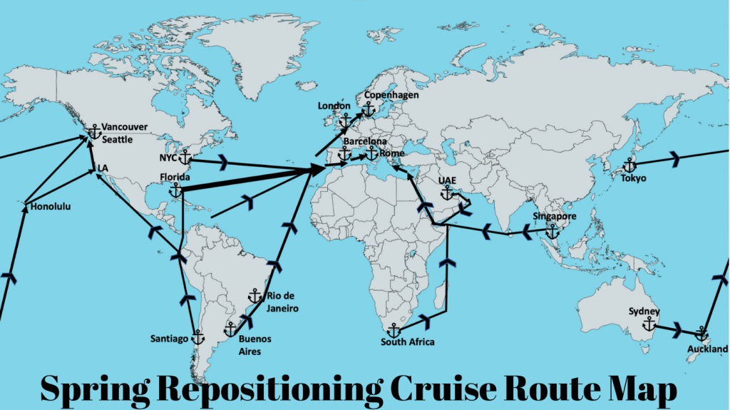 Spring Repositioning Cruise Route Map