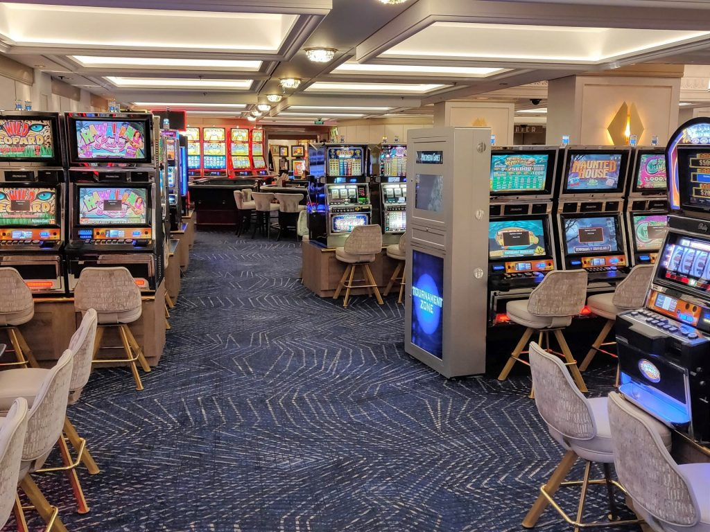 slot machines in a casino on a cruise ship