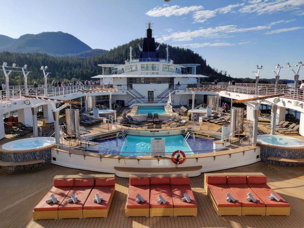 Cruise ship deck while docked in Alaska